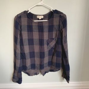 Cloth & Stone Crop Flannel with Tie Back Sz M